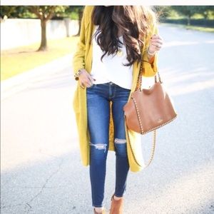 ChicWish Mustard/Gold long cardigan sweater Medium